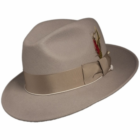 Mens Silver Fedora Hat 100% Wool Untouchable Dress Hat 8345 - click to enlarge
