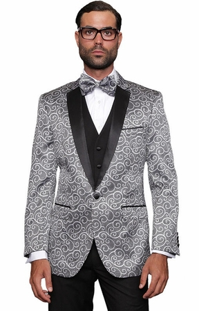 Mens Silver Paisley Tuxedo Modern Fit Performer Statement Bellagio - click to enlarge