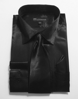 Mens Black Satin Dress Shirt Tie Set Entertainer Milano SG08