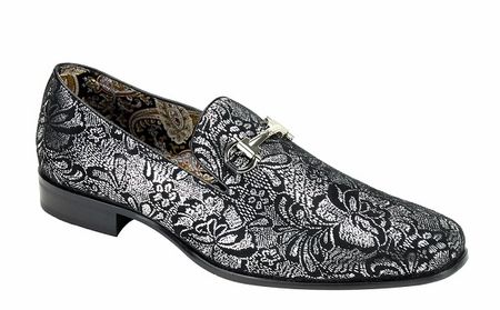 Mens Silver Shiny Paisley Smoker Slip On Entertainer Shoes AM 6682 - click to enlarge
