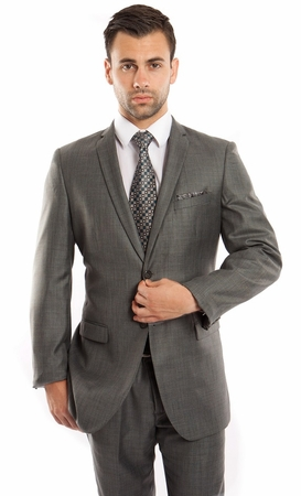 Mens Skinny Fitting Style Suits Green Heather Sharkskin Vented Center Tazio M181S-03 - click to enlarge