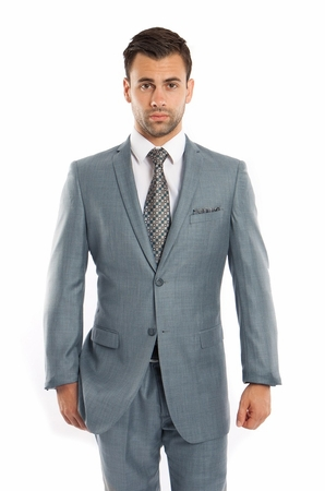 Mens Skinny Fitted Slim Suits Smoke Blue Heather Sharkskin One Vent Tazio M181S-02 - click to enlarge