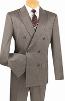 Mens Slim Fit Charcoal Double Breasted Herringbone Pattern Suit SDHB-1