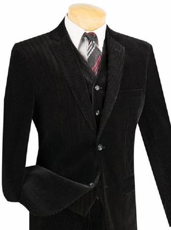 Mens Slim Fit Corduroy Suit 3 Piece Black Vinci Cord-1 - click to enlarge