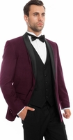 Mens Slim Fit Double Breasted 3 Piece Unique Tuxedo Purple/Black Tazio MT252S-03