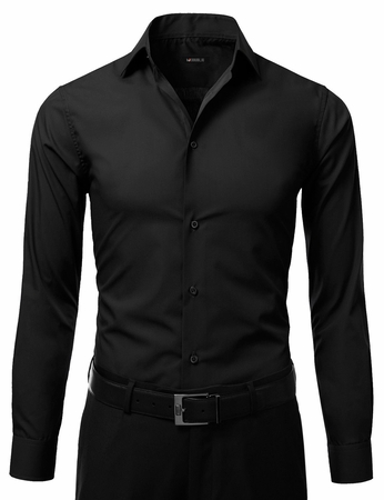 Mens Slim Fit Dress Shirt Black Button Down Ellissa DS3003 - click to enlarge