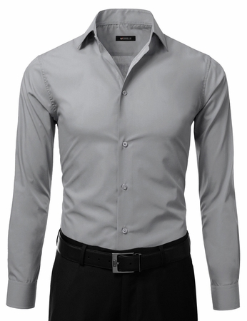 Mens Slim Fit Dress Shirt Grey Button Down Ellissa DS3003 - click to enlarge