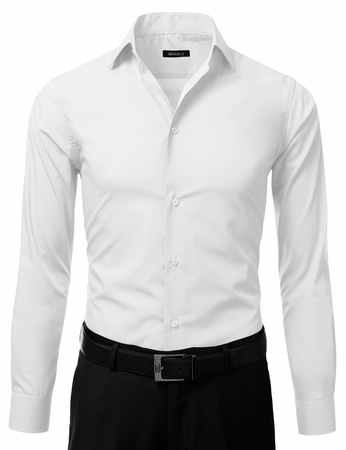 Mens Slim Fit Dress Shirt White Button Down Ellissa DS3003 - click to enlarge