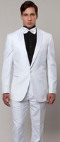 Mens Slim Fit Fashion White Tuxedo Peak Lapel Tazio M182S-02