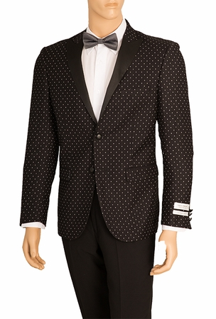 Mens Slim Fit Tuxedo Suit Jacket Black Dot Lorenzo SZ62PD - click to enlarge