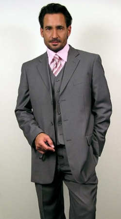 Mens Solid Medium Gray 3 Button 3 Piece Suit Regular Fit Milano 5802V - click to enlarge