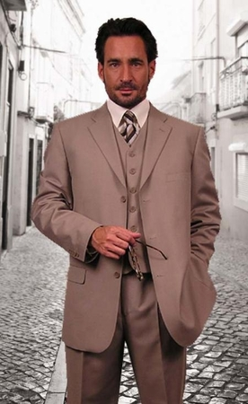 Mens Solid Tan Color 3 Button 3 Pc. Suit Italian Style Milano 5802V - click to enlarge