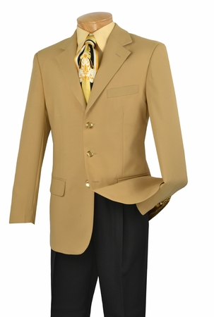 Mens Gold Sport Coat 3 Button Single Breasted Blazer Lucci NZ-3PP - click to enlarge