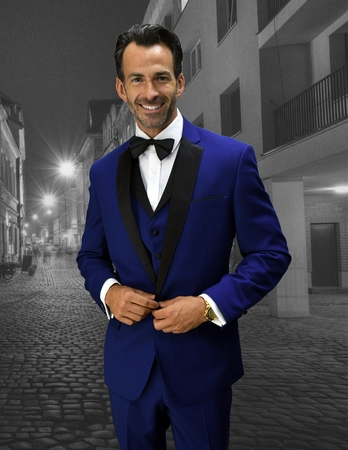 Mens Statement Sapphire Modern Fit Designer Tuxedo Look-6 - click to enlarge