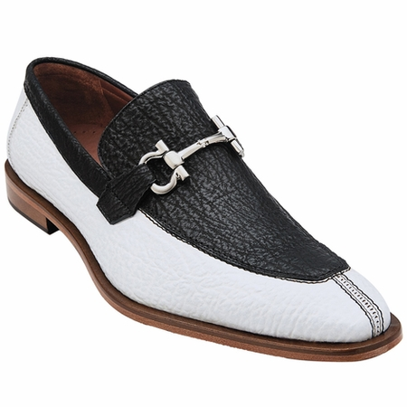 Belvedere Mens White Black Shark Skin Loafers Alfio 3B4 - click to enlarge
