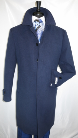 Mens Stylish Wool Overcoat Center Vent Classic Fit Navy Blue COAT61 - click to enlarge
