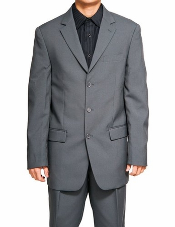 Mens Gray Suit 3 Button Jacket Lucci N3PP - click to enlarge