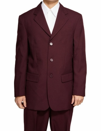 Mens Suits by Milano Dark Burgundy 3 Button Suit 802P - click to enlarge
