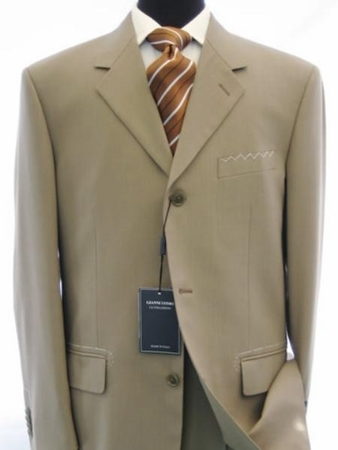 Fortini Milano Mens Plain Tan Color 3 Button Suit 802P - click to enlarge