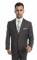 Mens Suits Dark Gray 2 Piece Flat Front Pants Side Vents Tazio M202-14
