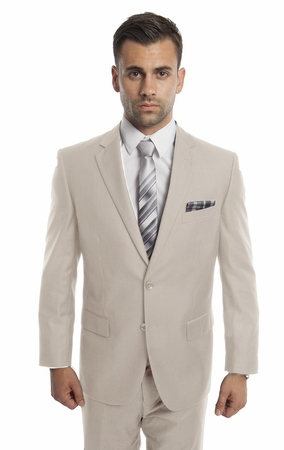 Mens Suits Tan 2 Piece Flat Front Pants Side Vents Tazio M202-34 - click to enlarge