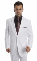 Mens Suits White 2 Piece Flat Front Pants Super 150s Tazio M202-04