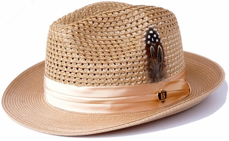 Mens Summer Hat Camel Straw Fedora BC503 - click to enlarge