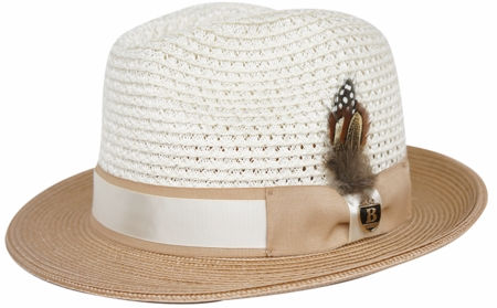 Mens Summer Hat Ivory Camel Fedora Straw BC600 - click to enlarge