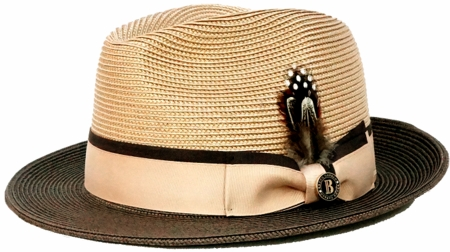 Mens Summer Hat Camel Brown Straw BC621 - click to enlarge