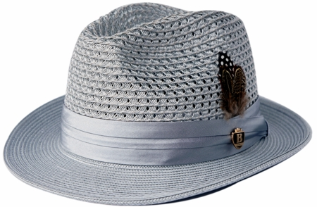 Mens Summer Hat Silver Grey Straw Fedora BC511 - click to enlarge