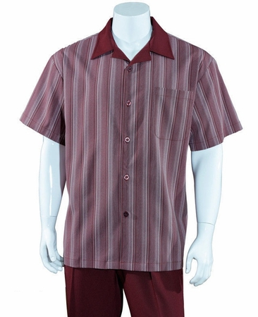 Mens Summer Leisure Shirt and Pants Suit Burgundy Stripe Fortino M2966 - click to enlarge