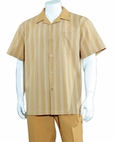 Mens Summer Leisure Shirt and Pants Suit Camel Beige Stripe Fortino M2966