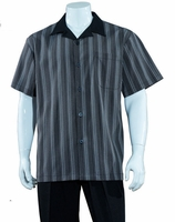 Mens Summer Leisure Shirt and Pants Suit Grey Stripe Fortino M2966