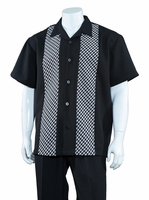 Mens Summer Shirt and Pants Set Black Plaid Front Fortino M2968