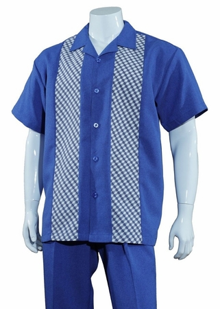 Mens Summer Shirt and Pants Set Blue Panel Front Fortino M2968 - click to enlarge