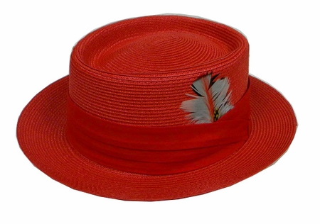 Mens Summer Straw Fashion Hats Red PC300 - click to enlarge