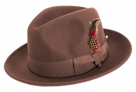 Montique Mens Wool Brown Untouchable Fedora Hat H09 - click to enlarge