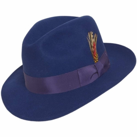 Mens Royal Blue Fedora Hat Wool Felt Untouchable - click to enlarge