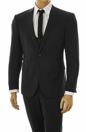 Mens Ultra Slim Fit Suit Tight Black 3 Piece Stretchy Fabric US631V - click to enlarge