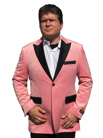 Mens Velvet Jacket Pink Tuxedo Blazer Club Alberto Nardoni Velvet-Tux101 - click to enlarge