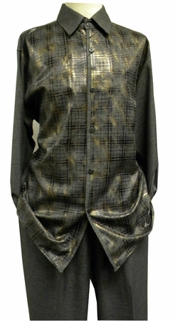 Mens Dress Outfits Pronti Gray Heather Foil Pattern SP6208 - click to enlarge