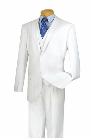 Mens White 2 Button 3 Piece Suit Vinci NV2TR - click to enlarge