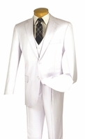 Mens White 3 Piece Suit Tonal Stripe Pleated Pants Vinci V2TT-8
