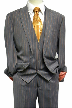 Steven Land Mens Gray Rust Stripe 3 Piece Suit Henry SL77-136 IS - click to enlarge