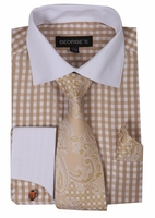Mens White Collar Dress Shirt Beige Gingham Plaid Tie Set AH615
