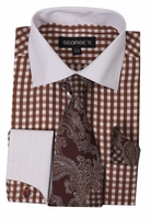 Mens White Collar Dress Shirt Brown Plaid Matching Tie Set AH615
