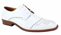 Mens White Dress Shoes Perforated Toe Antonio Cerelli 6738