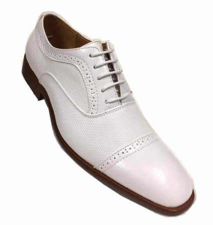 Mens White Dress Shoes Textured Cap Toe Lace Up AC 6694 - click to enlarge