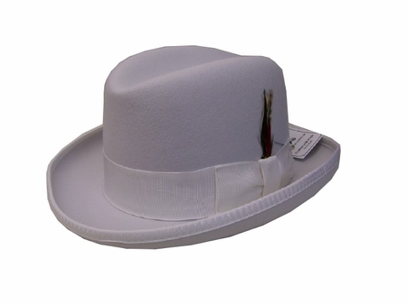 Mens White Godfather Hat 100% Wool Homburg Dress Hat 4201 - click to enlarge