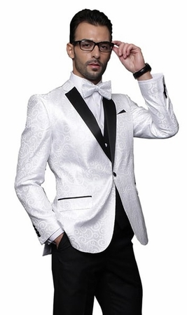 Mens White Paisley Tuxedo Dinner Jacket Alberto Nardoni Paisley-200 - click to enlarge